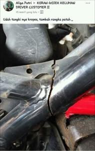 kasus rangka Honda CB150R patah