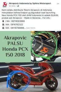 Akrapovic palsu pada Honda Pcx 150