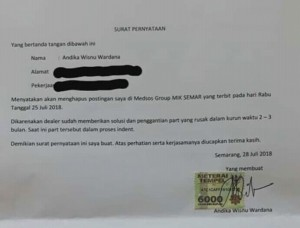 surat pernyataan klaim new honda vario 150 bermasalah